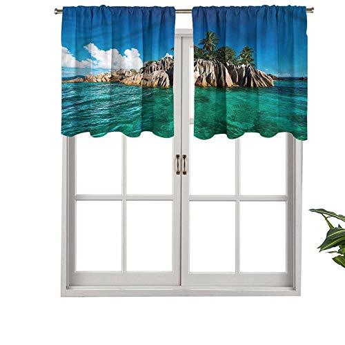 Hiiiman Lot de 1 tour de lit pour rideaux de qualité supérieure Motif mer Méditerranée Nature, 127 x 45,7 cm