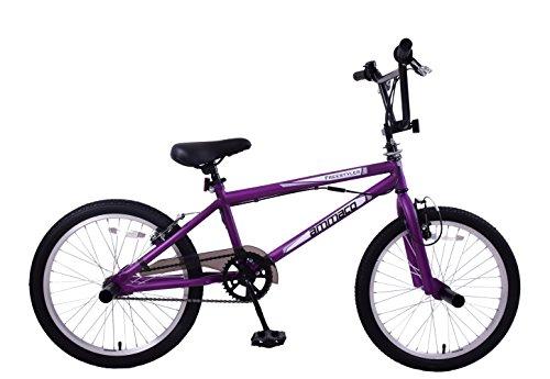 Ammaco Freestyler 20' Wheel Kids BMX Bike 360 Gyro & Stunt Pegs Purple Black Age 7+