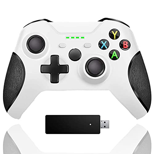 Wireless Controller for Xbox One, Enhanced PC Controller with 2.4G Bluetooth Adapter, Upgraded Dual Vibration Gamepad Compatible with Xbox One One S One X One Elite PS3 Host Windows 10