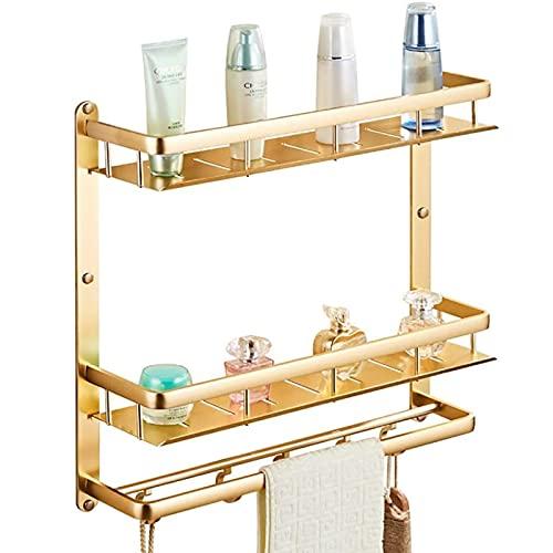 Moderno doble + varillas individuales redondeadas de aluminio sin perforar, instalación pegada, baño, hogar, hotel, baño, estante