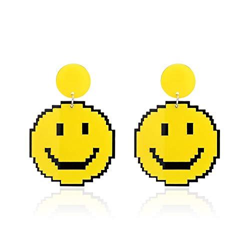 Smiley Drop - Pendientes redondos de acrílico con diseño de emoticonos para mujer