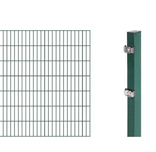 GAH-Alberts 644147 Erweiterung zum Doppelstabmattenzaun | verschiedene Höhen - wahlweise in verschiedenen Farben | kunststoffbeschichtet, grün | Höhe 140 cm | Länge 2 m