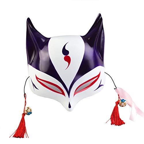 keland Máscara de zorro adulto máscara facial niño japonés kabuki mascarada disfraz máscara de halloween juego de rol
