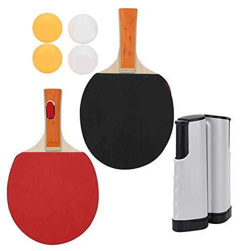 VGEBY Ensemble de Tennis de Table, Support de Filet télescopique Portable 1 Paire de pagaie de Tennis de Table 4 Accessoires de Formation de ping-Pong Ensemble(Blanc et Noir)