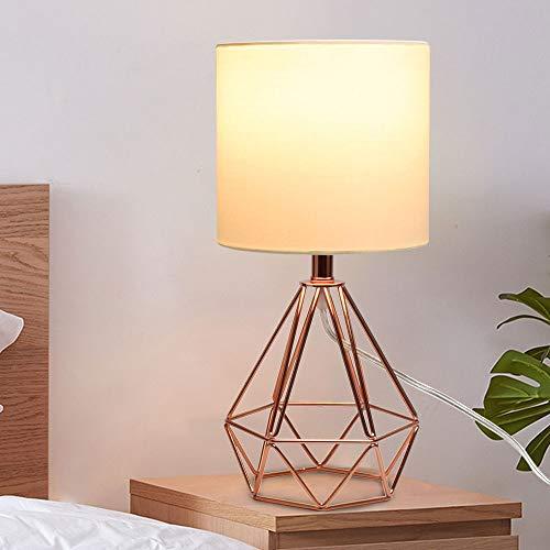 Depuley Lampe de Bureau Rétro,Lampe de chevet avec Abat-jour en Tissu,E27 Lampe de Table(Ampoule Incluse), Design Rétro et Classique, Économie d'énergie, Métal Or Rose