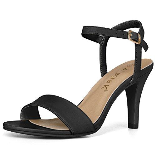 Allegra K Damen Peep Toe Stiletto Slingback High Heels Sandalen Schwarz 36
