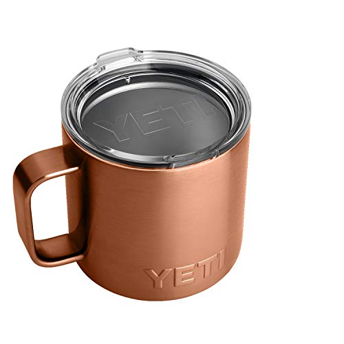 YETI Rambler 14 oz Mug, Stainless Steel, Vacuum Insulated with Standard Lid, Copper
