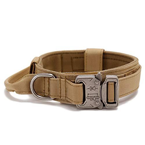 G-raphy Collares Tácticos para Perros, Nailon Militar Ajustable con Hebilla de Metal en D para Entrenamiento de Perros, Colección de Collares para Perros Pequeños Medianos y Grandes (M, Marrón)