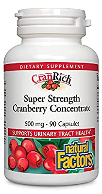 CranRich by Natural Factors, Super Strength Cranberry Concentrate, Antioxidant Supplement for Urinary Tract Support, Non-GMO, 90 Capsules from Natural Factors