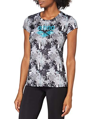 ARENA Camiseta para Mujer con Logotipo de Gym, Mujer, Camiseta, 000937, Planeta de píxel, Medium