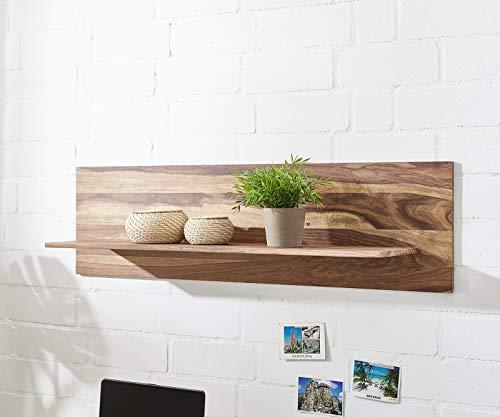 DELIFE Wandboard Loca Sheesham Natur 130x28x36 cm Massivholz Ablage