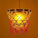 Lámpara de Canasta de Baloncesto Creativa, Lámparas de araña de Techo de Vidrio para Parque Infantil de jardín de Infantes LED, D32cm