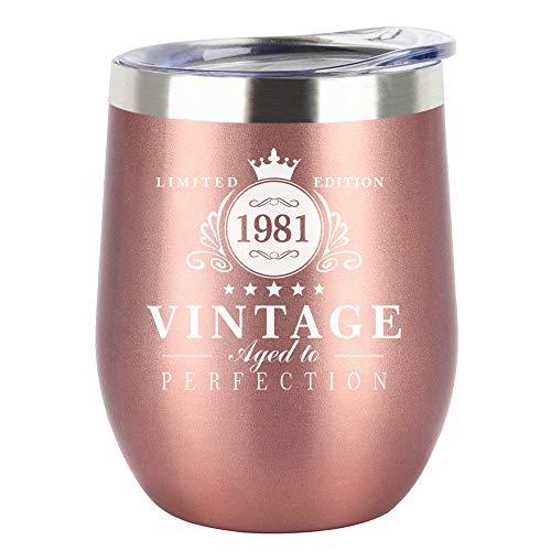 HDCOOL 1981-40th Birthday Gifts for Women, 12oz Stainless Steel Wine Tumbler, Reusable Travel Mug...