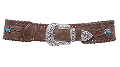 "2 3/4"" Wide Western Contoured Laced Alligator Rhinestone Turguoise Leather Belt Size: S/M - 34 Color: Brown"