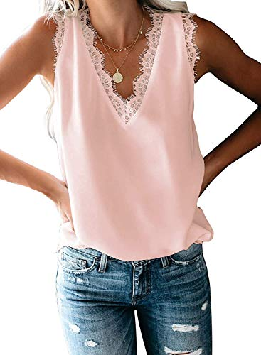 Women's V Neck Lace Trim Tank Tops Casual Loose Sleeveless Blouse Shirts (Pink, Large)
