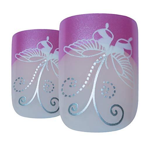 Art bling faux ongles manucure française papillon rose 24 Moyen Conseils UK