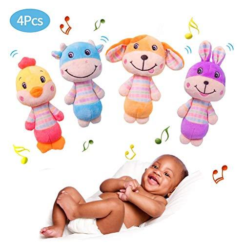 Wosiky saisissant Jouet et hochet Lapin bébé hochets Jouets avec Son Mignon hochet Jouets Early Educational Toy 4 pièces/Ensemble