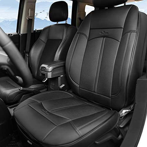 KINGLETING Car Seat Covers,Universal Fit Breathable PU Leather Non-Slip Seat Protector (1 Seat,Black)