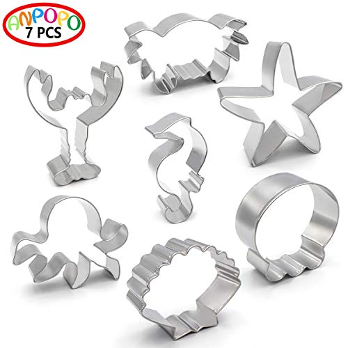 ANPOPO Under The Sea Cookie Cutter Set - 7 Piece - Seashell, Octopus, Seahorse, Starfish, Crab, Lobster and Heim Metal Cookie Cutters Shapes for Kids Birthday Party Supplies