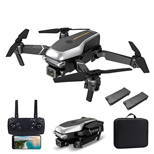 FMHCTN Drone con cámara Dual 4K HD para Adultos, Quadcopter Plegable Profesional WiFi FPV, Drone RC Puede Volar Durante 24 Minutos con 2 baterías