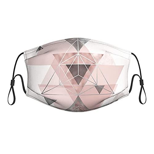 Lesif Máscara abstracta de tela geo en rubor rosa y gris M-Ask, cómoda, lavable, reutilizable, con filtros, pasamontañas ajustable transpirable para adultos y mujeres y hombres