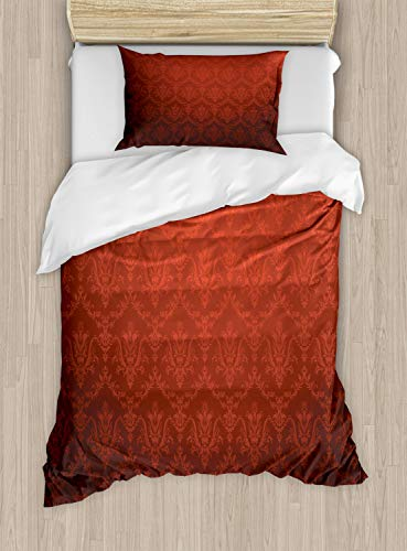 Ambesonne Dark Red Duvet Cover Set, Antique Floral Pattern with Baroque Royal Renaissance Influences and Ombre Effect, Decorative 2 Piece Bedding Set with 1 Pillow Sham, Twin Size, Black Red