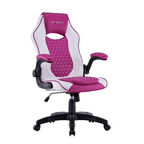 HOMEFUN Racing Style Gaming Chair, Ergonomic Computer Chair with Adjustable Armrests and Height, for Teenagers, Men and Women, Pink
