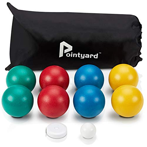 Pointyard Bocce Ball Set, Lighter 84mm Bocci Ball Set with 8 Soft PE Bocce Balls&1 Pallino&Carry Bag&Measuring Tape - Outdoor Family Games for Backyard/Lawn/Beach (Red,Blue,Green,Yellow)