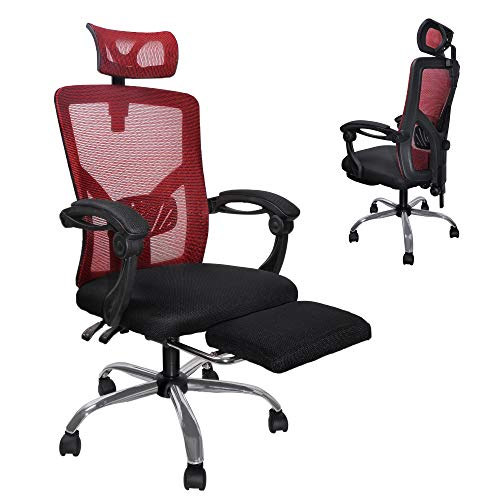 MU Ergonomic Mesh Office Chair, High Back Desk Chairs with Footrest, Adjustable Back Support, Headrest, Comfortable & Breathable, Red