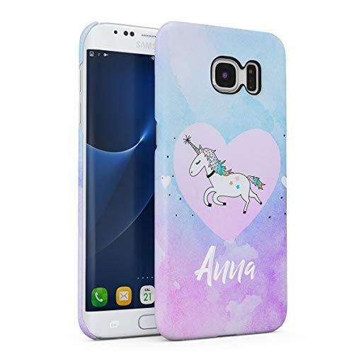 Personalizzato Custodia in Plastica Rigida per Samsung Galaxy S6 Edge Plus Custom Name Surname Initials Letter Text Customized Pink Purple Unicorne Rainbow Candy Dream Unicorno Cover Protettiva