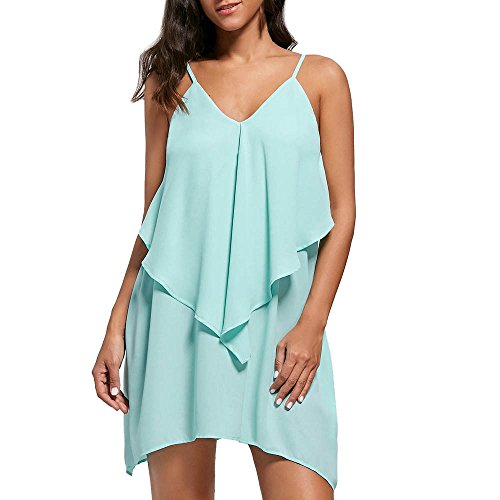 Womens Casual Chiffon Shirt Dress Sleeveless,Mlide Womens Roll-up Blouses Overlay Flowy Ruffles V-Neck Camis Mini Dress,Green S