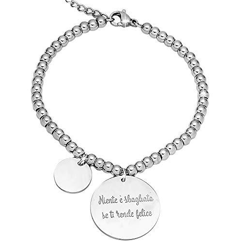 Beloved Bracciale da donna, braccialetto in acciaio emozionale - frasi, pensieri, parole con charms - ciondolo pendente - misura regolabile - incisione - argento (MOD 1)