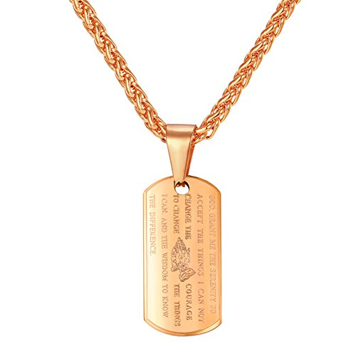 U7 Praying Hands Lord's Prayer Necklace Rose Gold Plated Pendant Engraved Religious Jewelry for Men