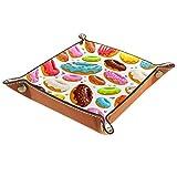 LynnsGraceland Bandeja de Cuero - Organizador - Icono de Donut Colorido - Práctica Caja de Almacenamiento para Carteras,Relojes,Llaves,Monedas,Teléfonos Celulares y Equipos de Oficina