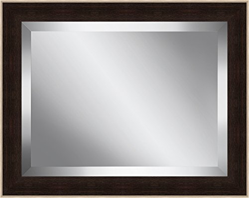 Ashton Art & Décor Espresso and Silver Framed Beveled Plate Glass Mirror, 22 by 26-Inch