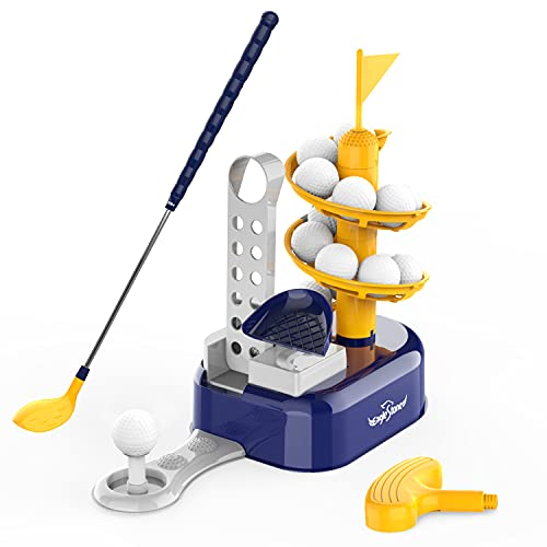 EagleStone Kids Golf Toys Set Outdoor Lawn Sport Toy with 15pcs Training Golf Balls & Clubs Equipment, Indoor Exercise Game, Portable Outside Yard Active Gifts for 3 4 5 6 7 8 Year Olds Boys Girls