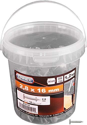 Connex Dachpappstifte 2,8 x 16 mm - 1200 g - Senkkopf - Verzinkt - Aufbewahrung in praktischem Eimer - Ideal für Dachpappe & Schiefernplatten / Breitkopfstifte / Dachpappennägel / Großpack / B30120
