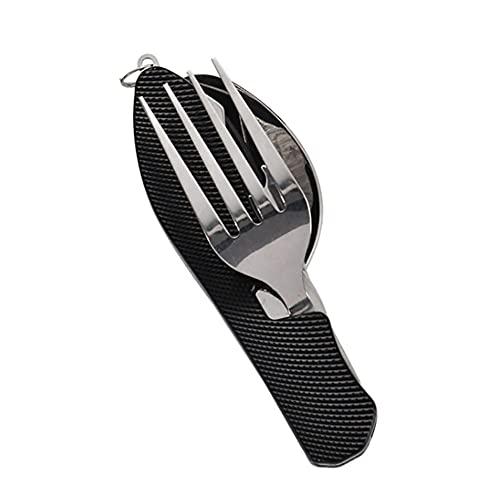 Cuberteria Plegable portátil de acero inoxidable cubiertos cuchillo tenedor cuchara deportes al aire libre camping picnic viajando vajilla Juego de cubiertos de acero inoxidable ( Color : Black )