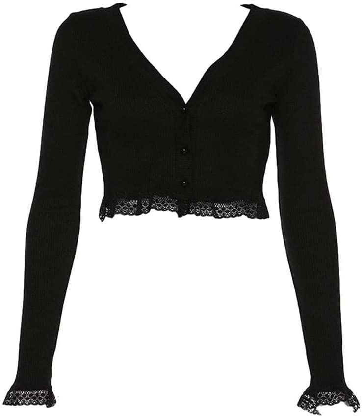 HSHUIJP Sexy Tops for Women Ladies Sexy Lace Patchwork Short Knitted Cardigan T Shirts Women Long Sleeve Pearl V Neck Slim Fit Solid Fashion Casual Crop Top Women, s Vests