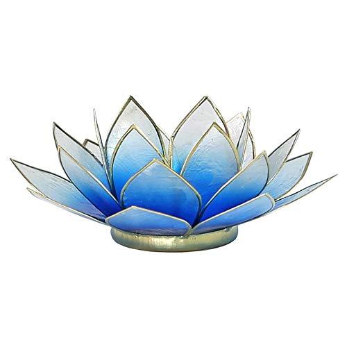Porte Bougie Fleur de Lotus Bleu Dégradé et or