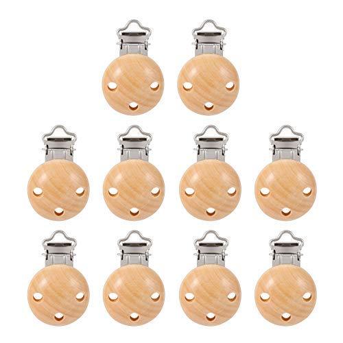 Schnuller Clip, KWOKWEI 10 Stücke Schnullerclips Set aus Holz und Eisen, 44mm Holz Schnullerketten Clips/Dummy Nippel Halter für Baby und Kind