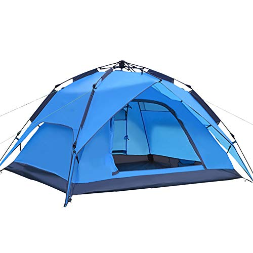 HGFDSA Outdoor Tents 3-4 People Automatic Tents Rainproof Uv Protection Camping Multi-functional Portable Tents,Blue