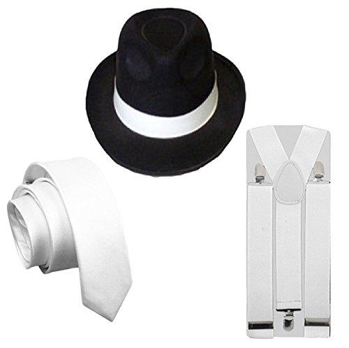 (3 PC Black Hat+Tie+Braces) - MENS 3PC GANGSTER BLACK HAT WHITE BRACES & TIE 1920'S FANCY DRESS COSTUME (3 PC Black Hat+Tie+Braces)