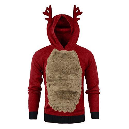 Celucke Weihnachten Hoodie Herren Rentier Stil mit Fleece Verdickte, Winter Warm Kapuzenpullover Langarm Pullover mit Kapuze