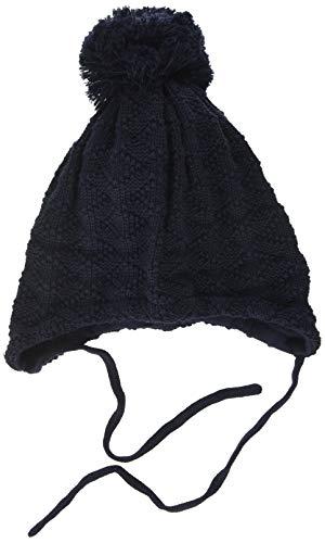 maximo Unisex Baby mit Struktur und Pompon und Bindeband Mütze, Blau (Dunkelmarine 11), (Herstellergröße: 47)