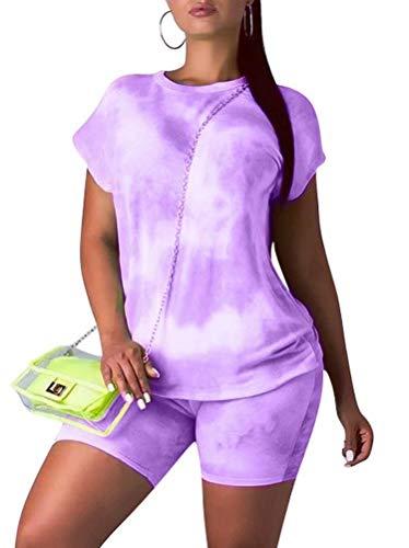 Women Loose T-Shirt Top Bodycon Pants 2 Piece Joggers Sports Outfit Tracksuit Set S QZ