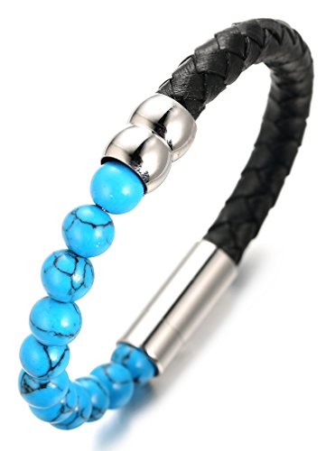 Halukakah ● Saluda La Tierra ● Pulsera Hombre Cuero Genuina con Cuentas Azul Turquesa, Ingenioso Cierre Magnético, 8.46