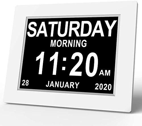 BUNSDUN Seniorenuhr 8 Zoll, Demenz Uhr, Digitaler Kalender, Wecker Digital mit Datum und Wochentag für Demenzkranke (Z.B. Alzheimer), Senioren, Sehbehindert, Kleines Kind (Weiß)