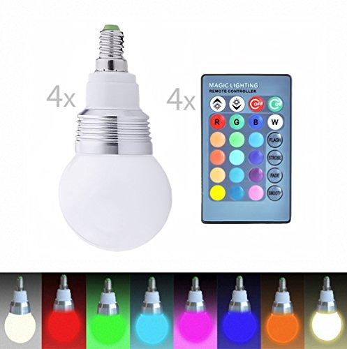 4 LED-gloeilampen + 4 afstandsbedieningen van kleur veranderende lamp, lamp, E14 3W RGB LED-lamp Bulb, LED-gloeilamp met magie Wireless Remote Control