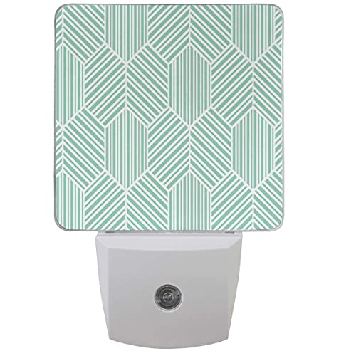 LINGF Geometrische Streifen Linien Nachtlicht 2er Set Weiß Grün Gitter Plug-in LED Nachtlichter Auto Dämmerungssensor Lampe für Schlafzimmer Badezimmer Küche Flur